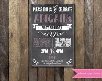 Chalkboard First Birthday Invitation, 1st Birthday Invitation, Chalkboard Invitation, Printable Invitation, Pink Invitation, Chalkboard