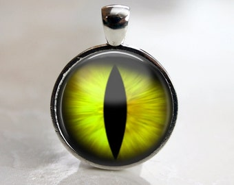 Yellow Cat's Eye Pendant, Necklace or Key Chain - Choice of Silver, Bronze, Copper or Black