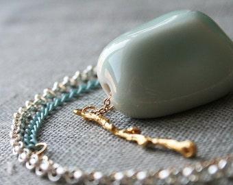 Pebble Necklace - porcelain ceramic light blue aqua branch gold silver asymmetric minimal modern woodland nature