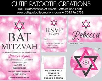 Pink and Grey Bat Mitzvah Invitation - Sparkling Bokeh Bat Mitzvah Invitations - Bat Mitzvah Logo - Envelope Addressing