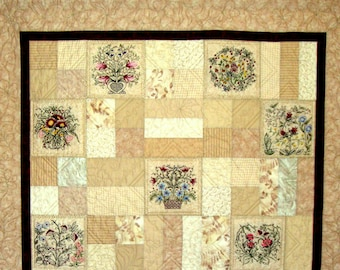 Hearts and Vines Quilt Pattern - with 10 Floral Hand Embroidery Patterns &  a Label Pattern