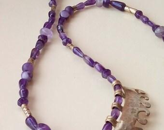 Purple Amethyst & Ametrine necklace with golden centerpiece.Ethnic statement jewelry,brass pendent,beaded necklace,original handmade beads