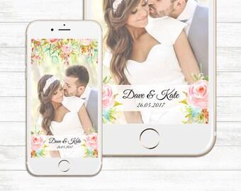 Wedding Geofilter, Custom Snapchat Geofilter, Floral Geofilter, Bridal Shower Geofilter, Gold Pink Geofilter, Love Geofilter Custom Filter