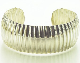 Sterling Silver Corrugated Synclastic Cuff Bracelet