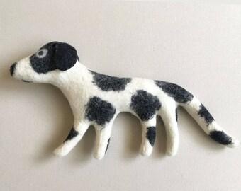 Felt Dog, stuffed felt animal, art toy, handmade, original, folk art, home or nursery decor