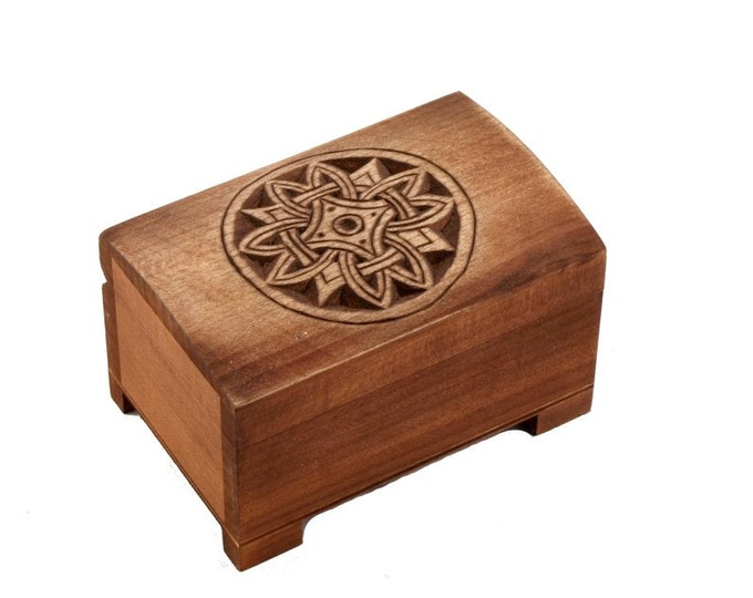 wooden historical jewelry box with solar pattern