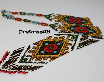 Traditional gerdan Ukrainian ornament  Beaded necklace Folk Handmade Glass Beaded Ukrainian jewelry Long Gerdan ukrainian gift for her girl