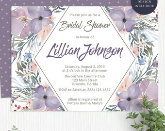 Watercolor Bridal Shower Invitation Watercolor Flower Bridal Shower Invitations with Purple Flowers Watercolor Bridal Shower Invite - 2003