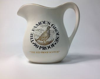 """Vintage """"The Famous Grouse"""" 90 Proof The Ice Proof Scotch Whiskey Pitcher"""