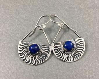 Lapis Lazuli et argent Sterling boucles d'oreilles earringd lapis blue boucles d'oreilles uniques
