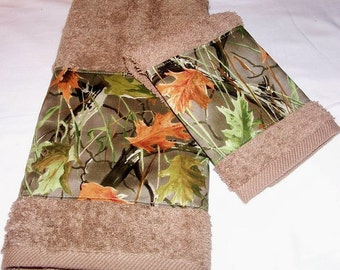 Camouflage Oak Trees Camo Rustic Oak Forest Trees Hand/Guest Towel and Washcloth Set Bath Towel Available Pick Your Size Mix and Match Sizes