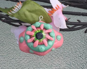 Pink and Green eldritch eye charm!