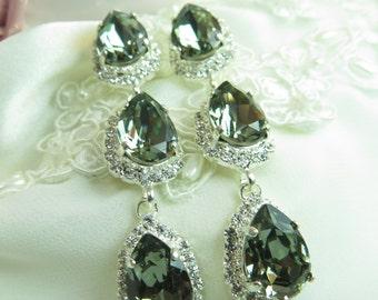 Black Diamond, Clear Rhinestones, Chandelier Earrings, Wedding Jewelry, Mother of the Bride, Pear Shape Crystals, Sterling Silver Jewelry