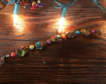 Handmade bracelet with bright, colorful semi-precious stones