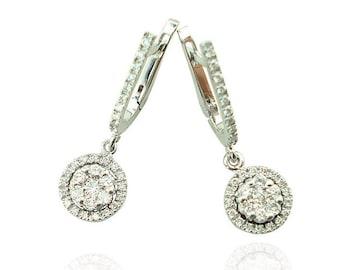 Halo Dangle Diamond Earrings, Diamond Earrings, Bridal Earrings, Dangle Earrings, Wedding Earrings, Womens Earrings, Fast Free Shipping