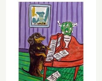 25% off dachshund art - 11x14 PRINT, dachshund, dog, dachshund print. piano, piano print.modern dog art, - dachshund gifts