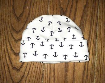 Anchor newborn up to 3 months baby hat