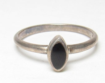 Sterling Silver 0.30 Ct Natural Marquise Cut Black Onyx Solitaire Ring