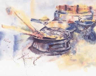 "Original watercolor painting, 8x10"": 'The morning wok'"