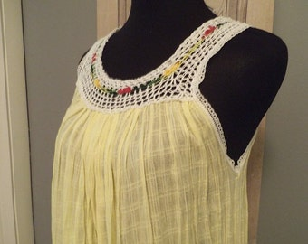 Lovely Vintage Sheer Gauzy Romantic cotton Gown ~ Mexican Day dress ~  Sunny Yellow with Embroidery ~ Ecuador ~ one size fits Most