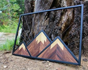 Mountain Wall Art / 2'x3' / Wood and Metal / Steampunk Decor / Geometric Mountain Decor / Outdoor art / Wilderness Art / Chevron Mountain