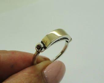 Garnet 925 Silver Ring, 925 Sterling Silver 9K Yellow Gold Ring, Ring size 7.5 Gold Ring, CZ Ring, Yellow Gold Ring, Birthday Gift