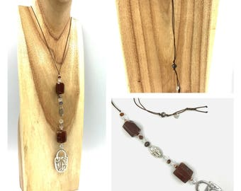 Agate - Crystal long necklace