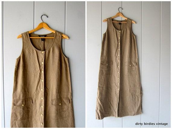 90s LINEN Dress Long Minimal Sun Dress Button Down with Pockets Vintage Loose Fit Frock Natural Brown Sundress Casual Dress Womens 8 Medium