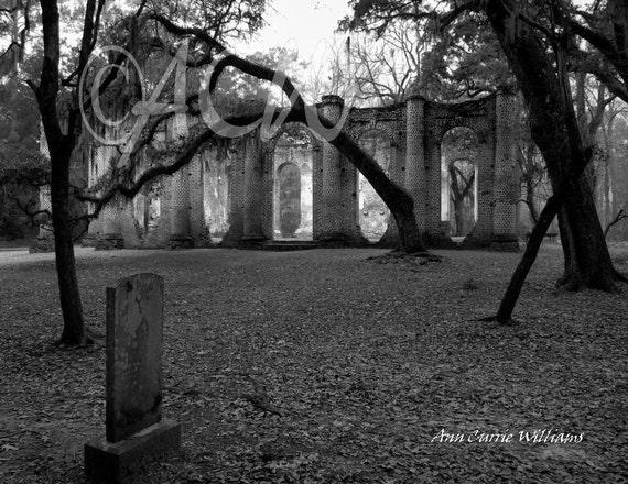 Sheldon Church, Yemassee, South Carolina  in Black and White(PR) (canvas)