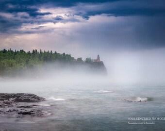 Split Rock Lighthouse, Lake Superior North Shore, Fog, Dramatic Landscape Photo, Nature Photography, Fine Art Print, Dark Blue, Minnesota