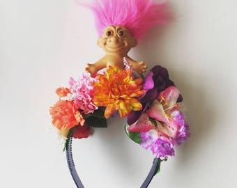 Pink hair Troll Floral Flower Crown Festival Head Dress Hair Band