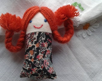 Girl with Plaited Red Hair Handmade Brooch