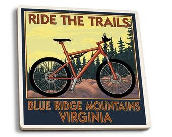 Blue Ridge Mountains VA Ride the Trails LP Artwork (Set of 4 Ceramic Coasters)