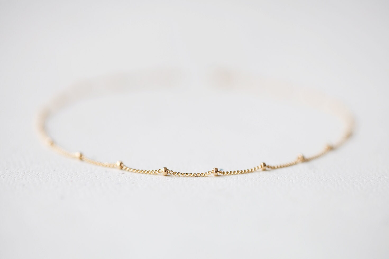 Delicate Gold Bracelet simple and delicate beaded14k gold