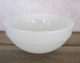 Vintage Anchor Hocking Fire King White Milk Glass Mixing Bowl Fire King Ware White
