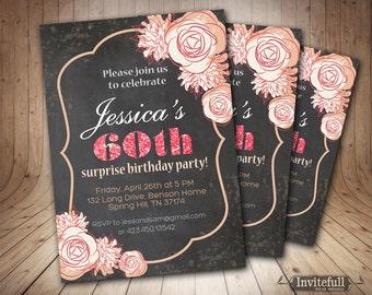 Chalkboard 60th 50th 40th Birthday Invitation for women, Adult Birthday Invitation,DIY Printable Invitation,Woman Birthday Invitation