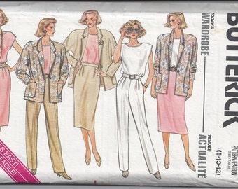 Butterick 3633 Pattern for Misses' Wardrobe, Sizes 8, 10, 12. From 1989, FACTORY FOLDED, UNCUT, Vintage Pattern, Home Sewing Pattern, Sewing