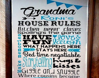 House Rules Sign. Perfect Mother's Day Gift. Personalized Grandma's House Rules Wood Sign. Gifts For Mom Home Decor Wall Hanging House wares