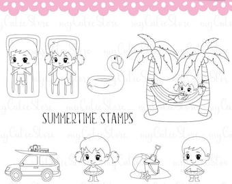 Summertime digital stamps, beach digistamps for vacations clipart great for scraps, crafts, cut machines, digital planning.