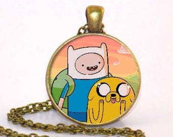 Adventure Time Finn and Jake Bronze style pendant necklace