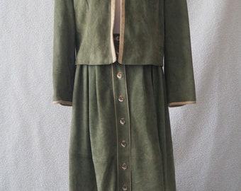 Vintage German dirndl oktoberfest green suit suede leather folk boho Size 18