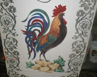 Rooster Chicken Lace Trimmed Tapestry Vintage hanging Mother's Day