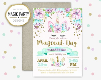 Unicorn Birthday Invitation, Unicorn party Invitation, Glitter invite, first birthday, Birthday girl Invitation, floral invitation printable