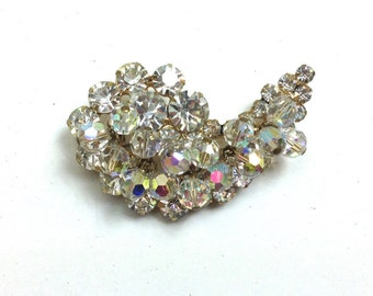 50s Crystal Brooch   Rhinestone & Crystal Brooch   Aurora Borealis Crystal Pin