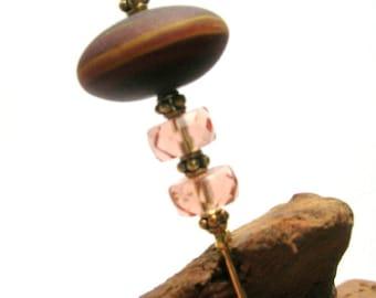Murano Bead Hat/Stick Pin - Handmade Hat Pin - Brown/Pink