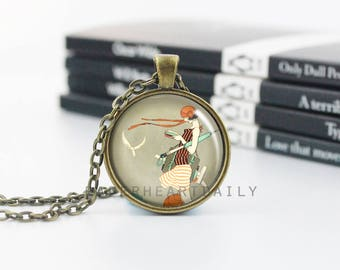 Book Charm Necklace - Book Art Pendant - Bookworm for Her - Bronze Book Jewelry - Jewelry for Readers - Book Pendant -  (B7493)