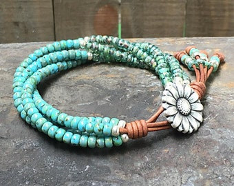 Seed Bead Leather Wrap Bracelet/ Beaded Wrap Bracelet/ Gift For Her/ Bohemian Wrap Bracelet/ Beaded Leather Wrap/ Boho Wrap Bracelet.