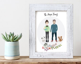 Custom Portrait Illustration | Family Illustration | Family Portrait | Pet Portrait | Wedding Gift | Christmas Gift | Personalized Gift