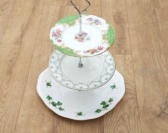 3 tier cake stand, green vintage, wedding cake stand, cupcake stand, mismatched China, mismatched plates, mismatch, cake stand