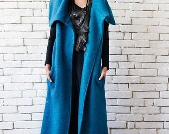 SALE Blue Petrol Winter Coat/Long Warm Coat/Oversize Blue Jacket/Wool Vest with Large Collar/Elegant Evening Coat/Blue Plus Size Sleeveless